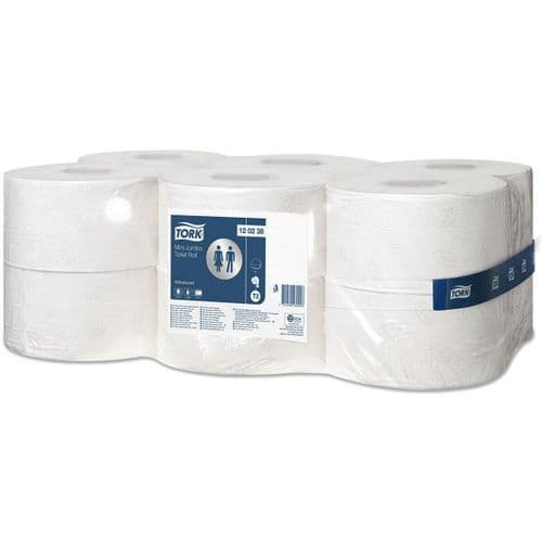 12 Tork T2 Advanced System Toilet Paper Mini Jumbo Rolls 120238 12x170m